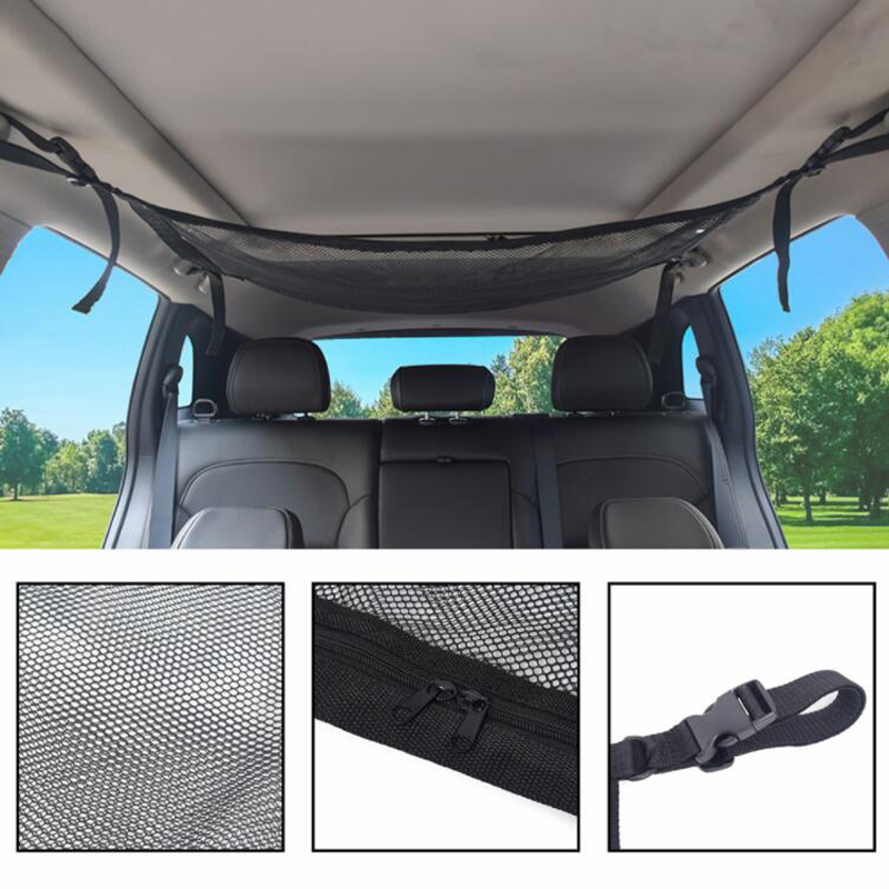 Car Ceiling Storage Net Pocket - Universal Car Roof Interior Luggage Net Bag With Zipper, Trunk Storage Interior Accessories