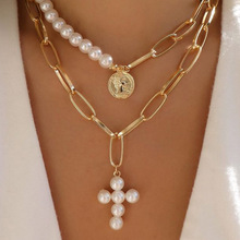 Fashion Retro Pearl Cross Letter Necklace Big Seal Inlaid Sweater Chain Women Jewelry Accessories