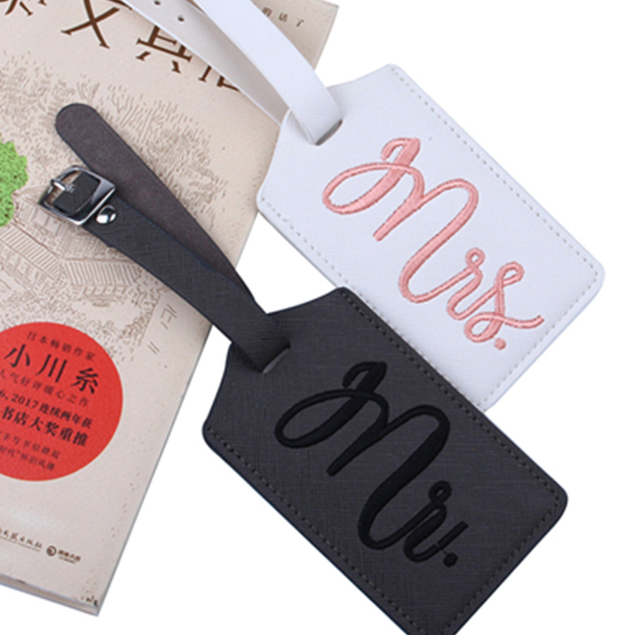 Mr&Mrs Embroidery Suitcase Luggage Tag Bag Pendant Travel Accessories Name ID Address Wedding VIP Invitation Label LT36B