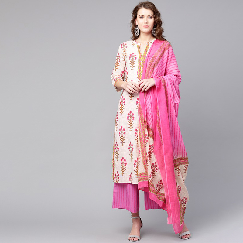 Vestido largo Kurti para las señoras de las mujeres Kurti Tradicional India Kurta Vestido Indiano Roupa Indiana traje Indienne