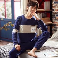 Oeak осень зима мужчины пижамы комплект милый мультфильм принт одежда для сна мягкая свободная с круглым вырезом мужской пижамы плюс размер гостиная одежда L-3XL