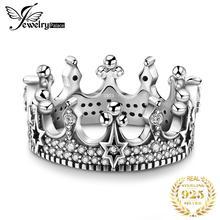 JewelryPalace Vintage gótico Zirconia cúbica Tiara corona anillo 925 anillos de plata esterlina para mujeres joyería hacer joyería de moda