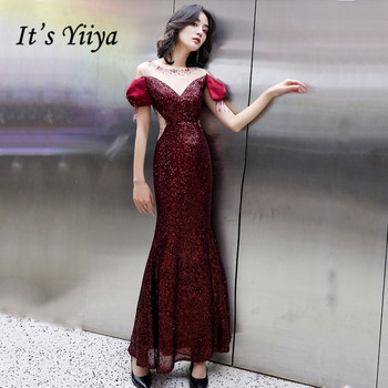 It's YiiYa Evening Dress Plus Size Mermaid Robe De Soiree Burgundy K138 Shining Sequins O-neck Long Evening Dresses for Women