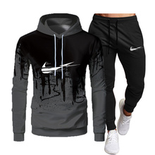 New Autumn and winter Men's Sets hoodies+Pants pattern Sport Suits Casual Sweatshirts Tracksuit 2021 Brand Sportswears-3xl