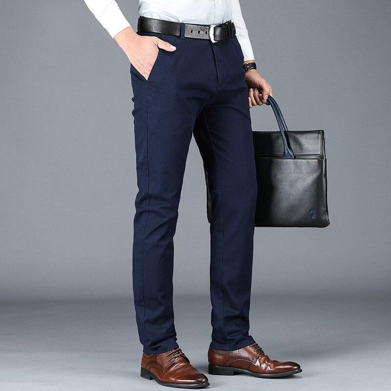 Man Chino Pants 98% Cotton 2% Spandex Quality Pockets Formal Business Fashion Male Clothing Blue Black Khaki Men Casual Trousers