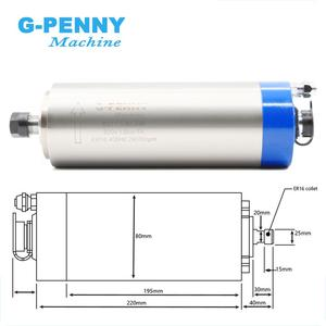 Image 2 - 1.5KW מים מקורר ציר מנוע ER16 4 מסבים 80x220mm & 1.5kw VFD/מהפך & 80mm ציר סוגר & 75w משאבת מים