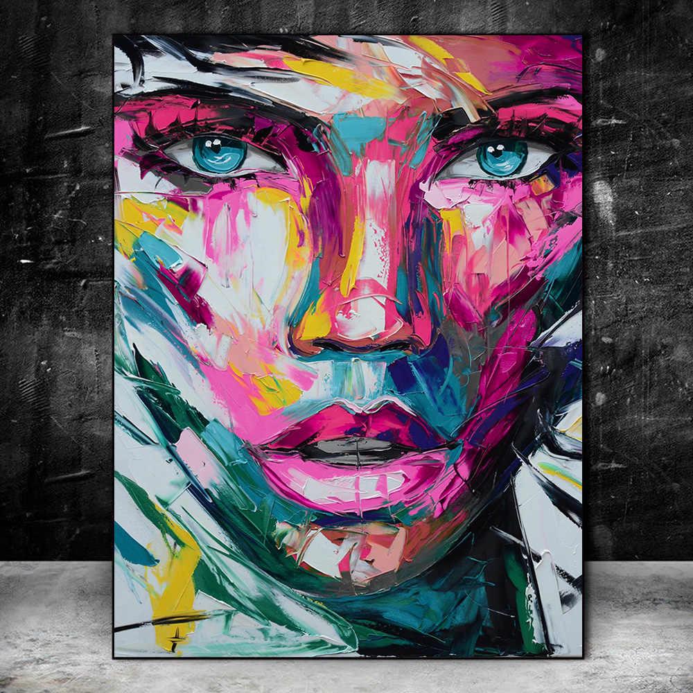 Abstracte Kleurrijke Meisje Gezicht Canvas Schilderijen Posters En Prints Moderne Afrikaanse Meisje Wall Art Pictures Home Muur Decor Cuadros