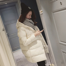 Winter Coat Women Solid Outwear Medium-Long Wadded Harajuku Snow Parka Thickness Cotton Warm