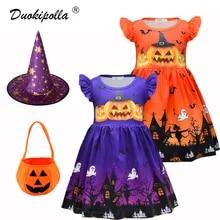 Baby Girl Dress Hapae Toddler Girls Ruffles Denim Splice Halloween Pumpkin Print Princess Dress,Infant Baby Girls Halloween Costume Long Sleeve Baby Outfits