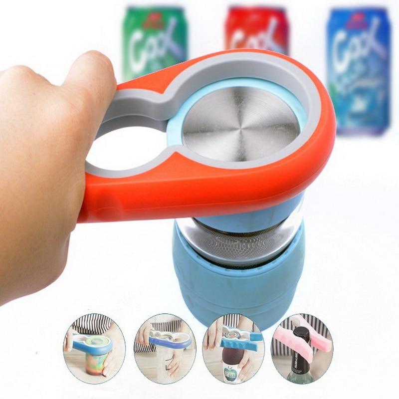 Easy 4 in 1 Anti-slip Can Lid Screw Opener Beer Bottle Jar Bottle Opener Kitchen