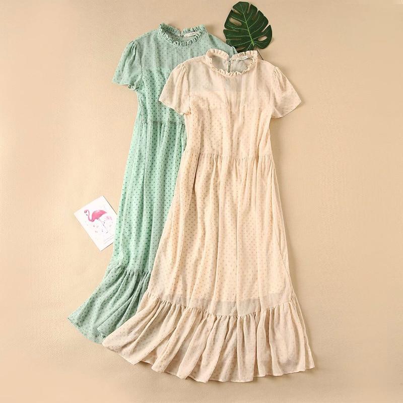2020 Women Summer Fashion Chiffon Dress Dot Short Sleeve O-Neck Spliced Dresses Female Casual Solid Party Elegant Dress Vestidos
