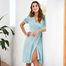 купить 2019 Cross V-neck Dress Puff Sleeve Wrap Dress Polka Dot Fit and Flare Dress Women Elegant Empire Long Dresses по цене 1171.71 рублей