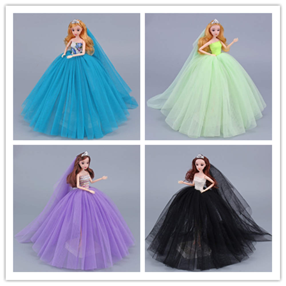 Handmade Wedding Dress Princess Evening Party Ball Long Gown Skirt Bridal Veil Clothes For Barbie Doll Accessories(China)
