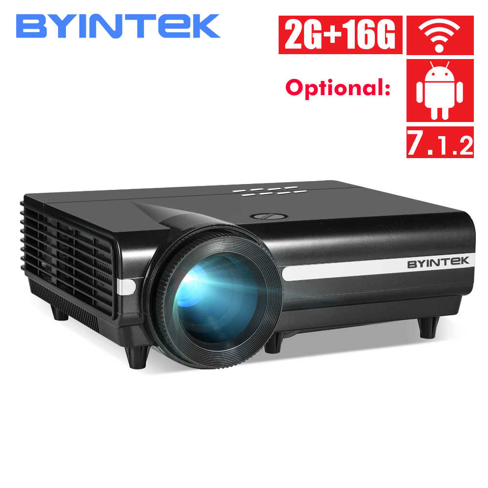 Byintek BT96Plus Full HD 1080P Proyektor, 600 ANSI Lumen hologram 200 LED Video HD Proyektor untuk Home Theater untuk Netflix
