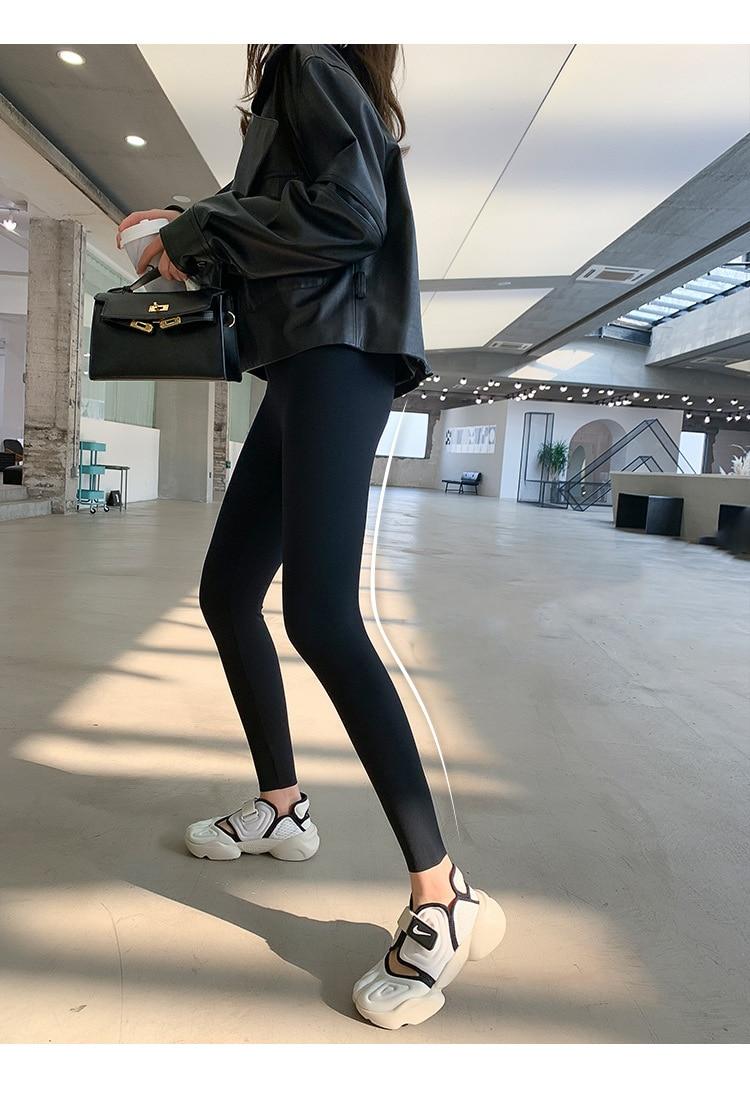 H327855ec973b422884d4c0c61de51810G BIVIGAOS New Women Sharkskin Black Leggings Thin Workout Stretch Sexy Fitness Leggings Skinny Legs Slimming Sport Leggings