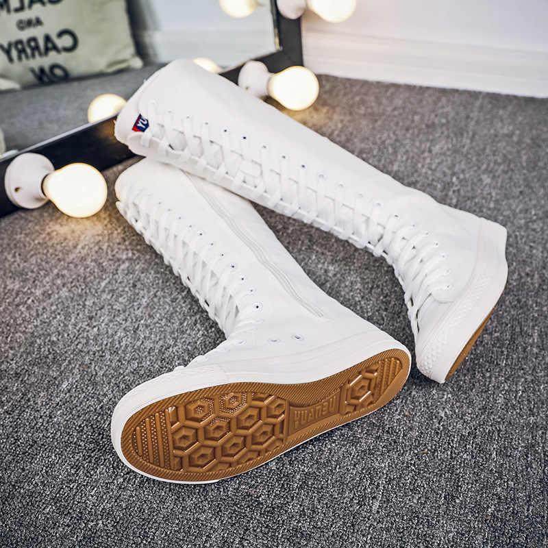 2019 Nieuwe Lente herfst Vrouwen Schoenen Canvas Casual Hoge Schoenen Lange Laarzen Lace-Up Rits Comfortabele Platte laarzen sneakers