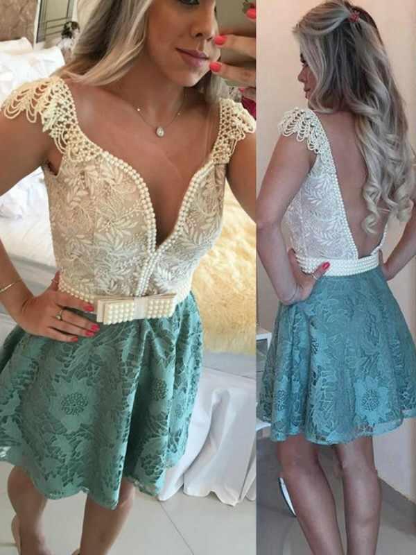 2020 אלגנטי שמלת קוקטייל אונליין/נסיכת שרוולים צווארון V ואגלי תחרה קצר/מיני שמלות למסיבה