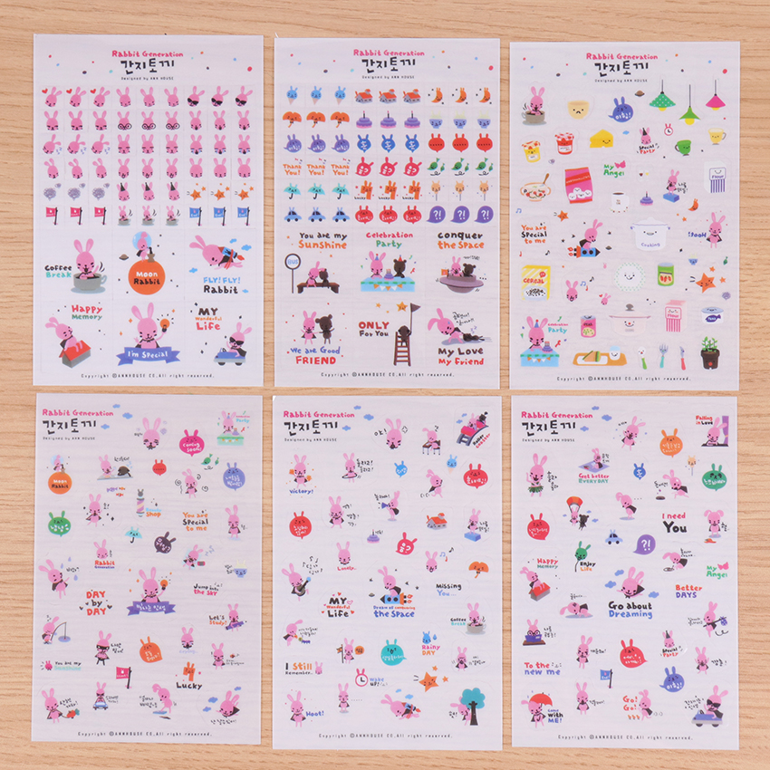 6PCS Korean Stationery Stickers Cute Rabbit Generation Decorative Sticker Lovely Animals PVC Transparent DIY Stickers For Diary