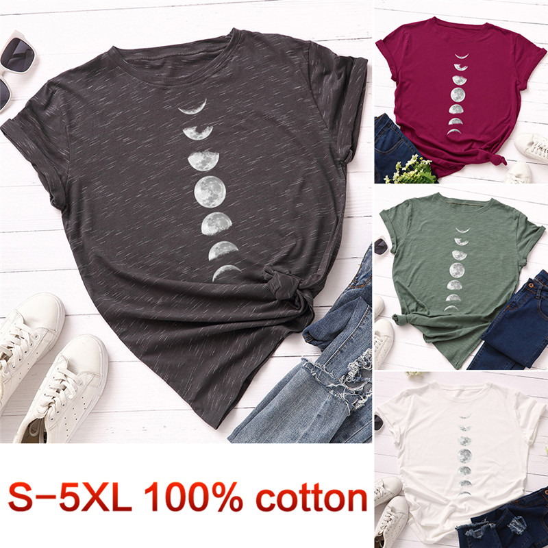 Plus Size Tshirt S-5XL New Moon Print T Shirt Women Shirts 100% Cotton O Neck Short Sleeve T-Shirt Summer Tees Casual Tops 1
