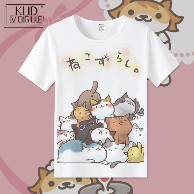 Women T Shirt Kawaii Short Sleeve Lolita Summer Tops Japan Anime Casua Cat Graphic Vogue Kawaii T Shirt Girl Cute Cat Blusa 2019