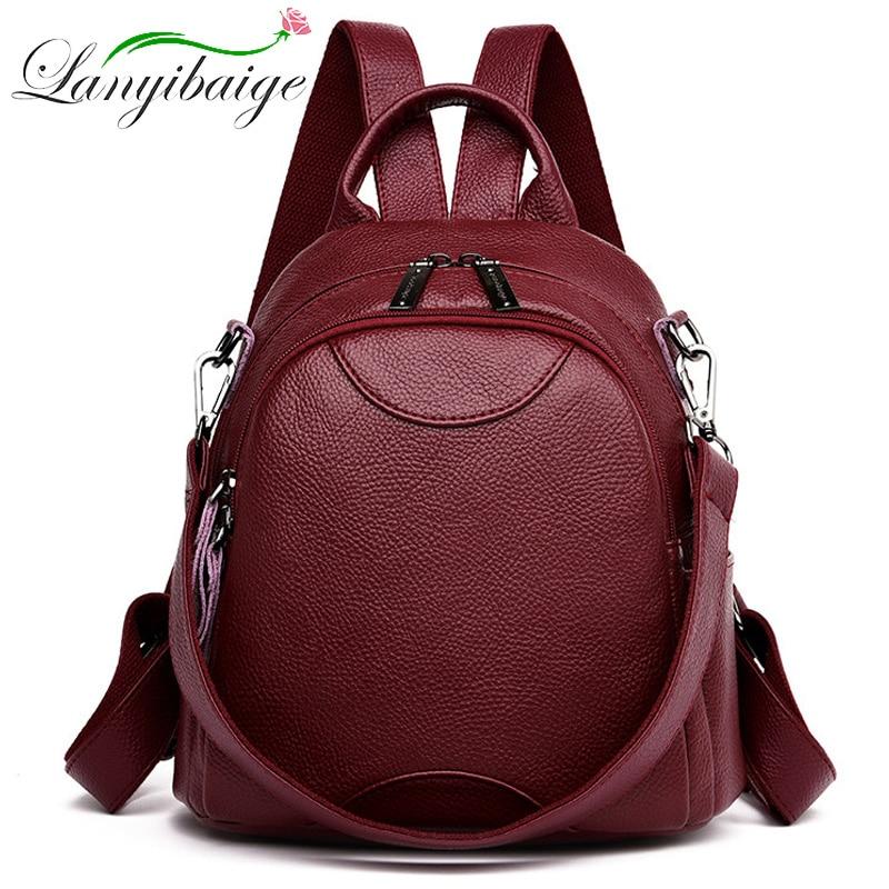 High Quality Ladies Travel Bagpack Sac A Dos Women Leather Backpacks School Bags For Girls Preppy Mochila Feminina Shoulder Bags
