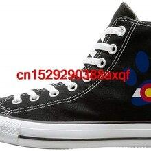 Парусиновая обувь флаг Колорадо с принтом лапы модные высокие кружево Ups спортивные кроссовки для мужчин женщин