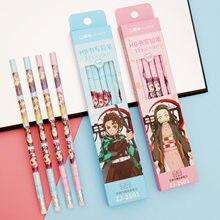 12 pçs/set anime demon slayer kimetsu não yaiba hb lápis kawaii dos desenhos animados hexágono estudantes escrita papelaria presente