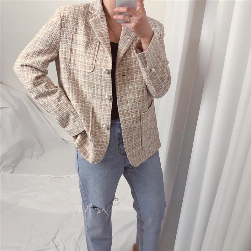 HziriP Chic Fashion 2020 Hot Casual Plaid Elegance High Waist Tops All Match Streetwear Plus Slim Geometric Office Lady Blazers