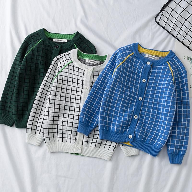 2021 New Baby Boys Girls Cardigan Autumn Lattice Sweater Top Baby Children Clothing Baby Boys Girls Knitted Cardigan Sweater 1