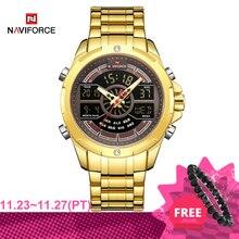 חדש NAVIFORCE זהב גברים שעון עמיד למים ספורט גברים של קוורץ שעון יד דיגיטלי זכר למעלה מותג יוקרה שעון Relogio Masculino
