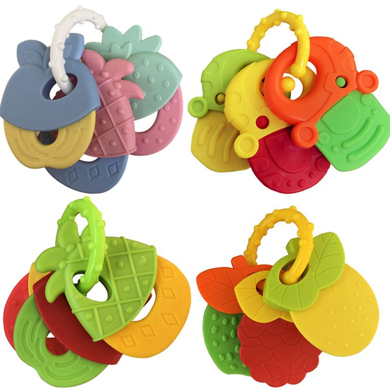 4pcs/set Baby Teether Fruit Shape Food Grade Safe Baby Teether Bracelet Teethers Toys Newborn Nursing Teething Stick Baby Rattle