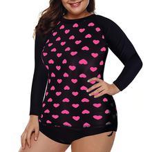 Yfashion 2Pcs/Set Women Sexy Swimwear Set Long Sleeve Heart-shaped Printing Tops + Shorts yfashion women fashion stripes printing dress briefs swimwear