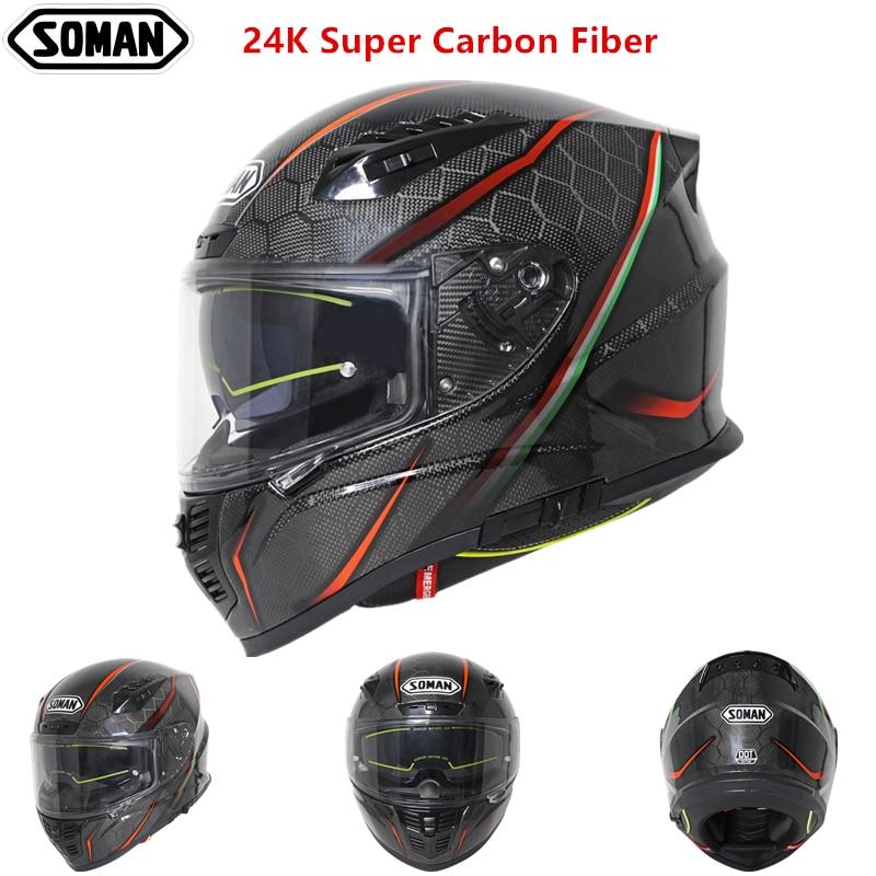SOMAN ECE Carbon Helmet Men Black Full Face Double Visor Motorcycle Helmet 24K Carbon Fiber Helmets Light Cool Design Casco Moto