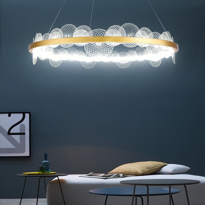 Post Modern Light Luxury Dining Room Bedroom Ring Creative Nordic Lamp Living Room Gold Glass Pendent Lamp|Pendant Lights| |  - title=