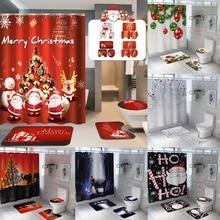 Рождественская занавеска для ванной комнаты и коврик для ванной набор Санта Клаус Снежная занавеска для душа крышка для унитаза коврик для ванной нескользящий коврик