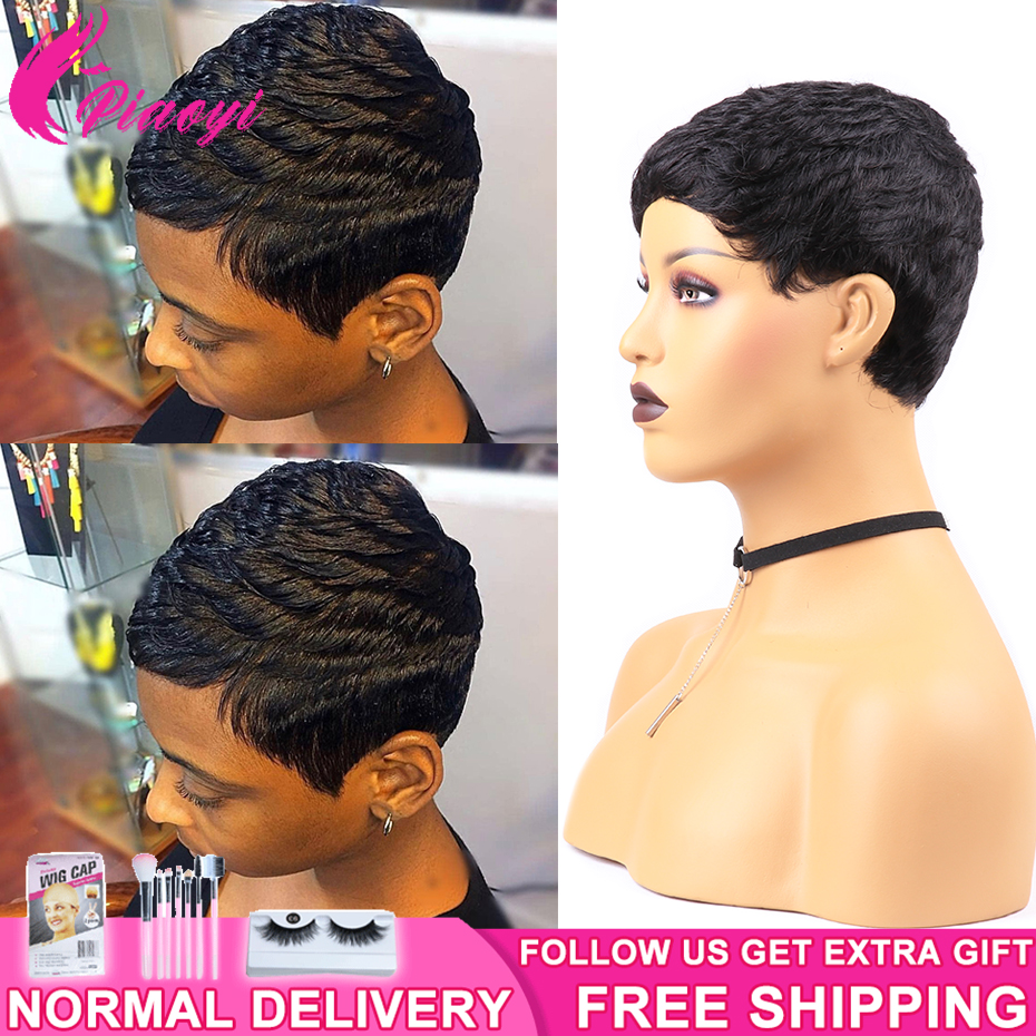 Short Pixie Cut Wig Remy Full Machine Brazilian Human Hair Wigs For Woman Short Finger Wave Wigs Piaoyi Full Nature Curly Wigs