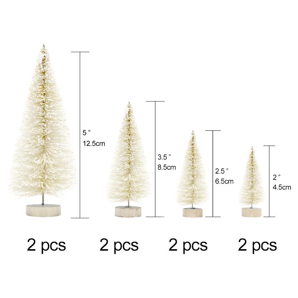 OurWarm 8 шт. Маленькая DIY Рождественская елка искусственная сосна дерево мини щетка для бутылок из сизаля Рождественская елка Санта, снег, мороз деревенский дом - Цвет: B