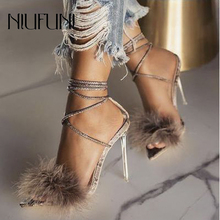 Sexy Plus Size 41 Transparent Pointed Toe Snake Print Women Sandals Fur Ankle Strap High Heels Summer Footwear Shoes For Women