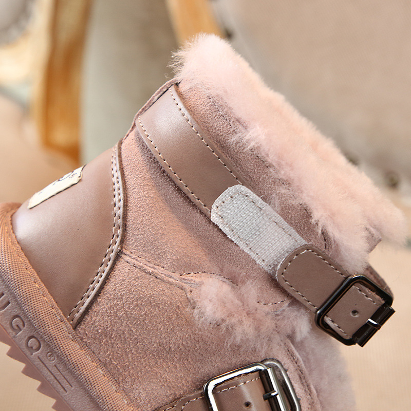 Image 5 - Winter Genuine Leather Warm Boys & Girls Shoes Children New Leather Buckle  Boot Warm Plush Outdoor Kids Snow Boot Toddler CHE06-in Boots from Mother & Kids