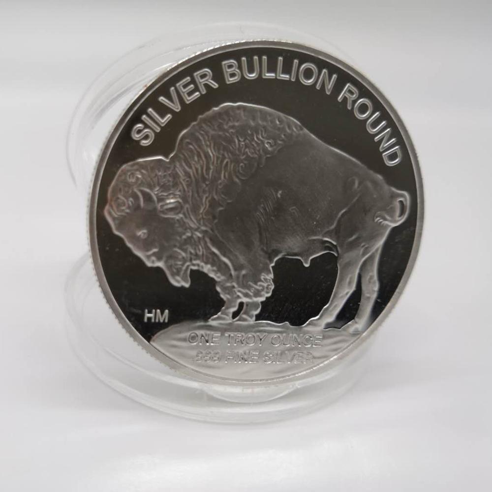 2015, индийская/буйвол BU, 1 унция, серебро 999 пробы, круглая монета американского производства