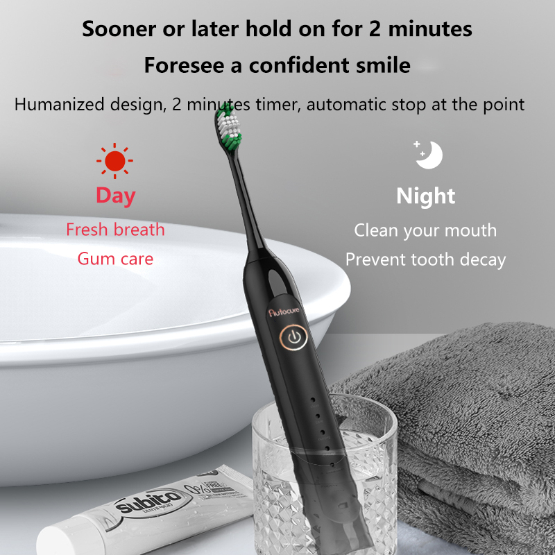 Autocure 2020 New Fashion Electric Toothbrush Adult Student Party Girl Rechargeable Automatic Ultrasonic Soft Hair Couple Suit