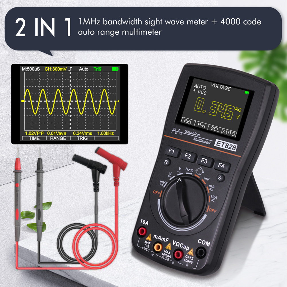 ET828 2 In 1 High Definition Intelligent Graphical Digital Oscilloscope Multimeter 2.5Msps 2.4 Inche Color Screen 1MHZ Bandwidth