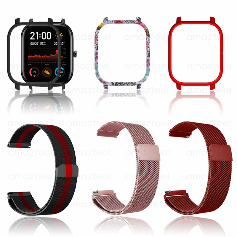 3in1 For Amazfit GTS Strap Metal With Case Bracelet For Huami Amazfit GTS Band Screen Protector Film Bumper Strap Accessories