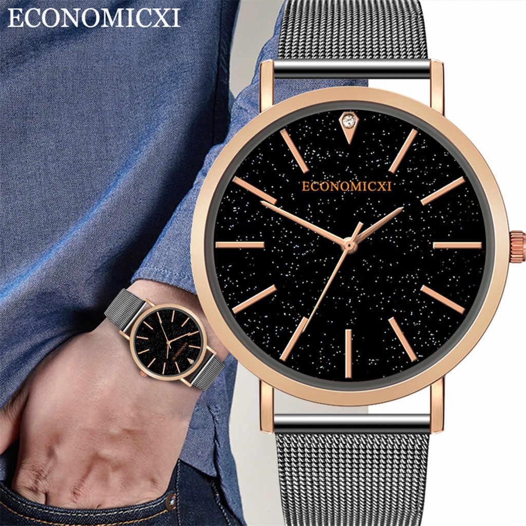 מינימליסטי שמי זרועי הכוכבים שעון איש אנלוגי קוורץ שעון יד נירוסטה גברים Relogio Masculino מזדמן זכר שעון שעוני יד Q4