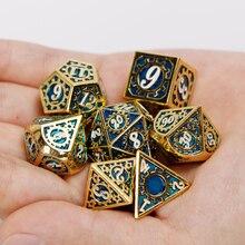 Подземелья и дракон игральные кости Dnd комплекты D & D и D RPG MTG многогранные 20 Двусторонняя синий Шестерни металлические кости набор 7 шт. D20 D12 ...