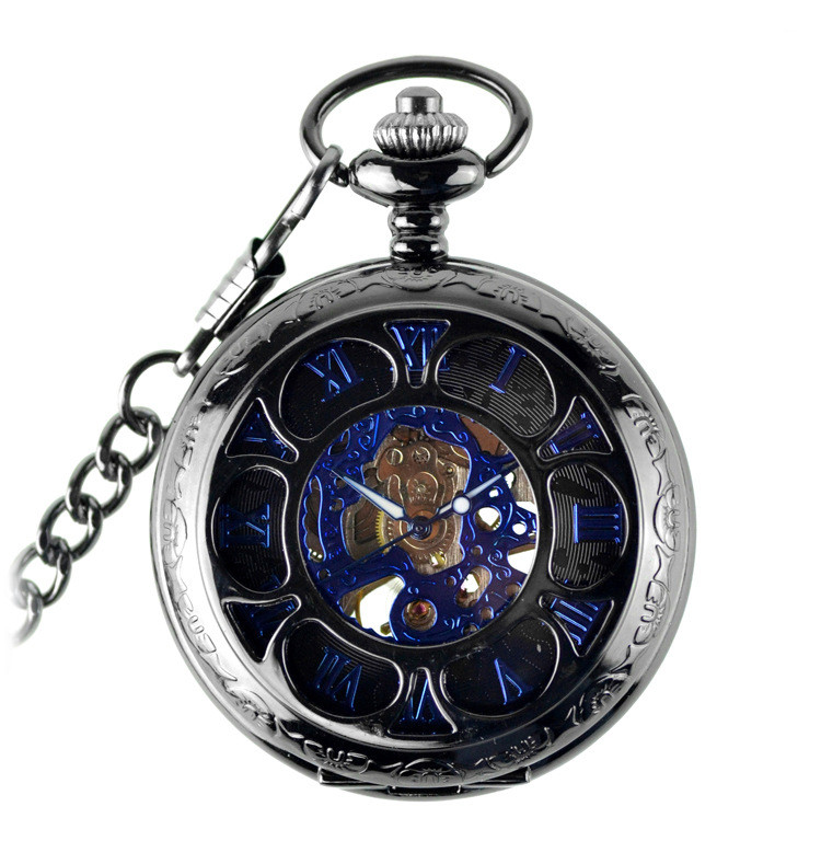 Luxury Brand Pocket Watch Blue Steampunk Skeleton Mechanical Pocket Watch Men Antique Pocket & Fob Watches Fob Chain Male Clock