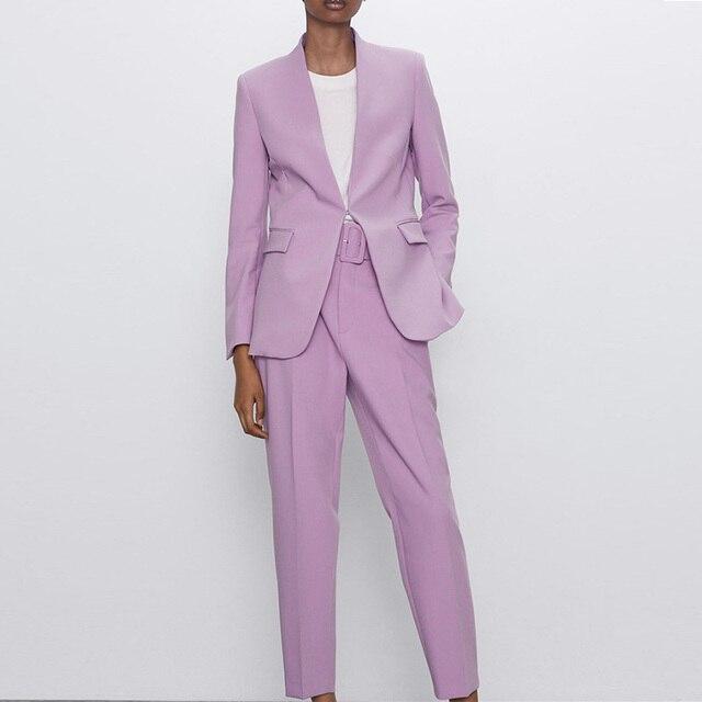 Za Women's Pants Suit Office Blazer Solid Jackets Elegant Coat Female 2 Piece Set 2021 Slim Outfit With Belt High Waist Trousers 6