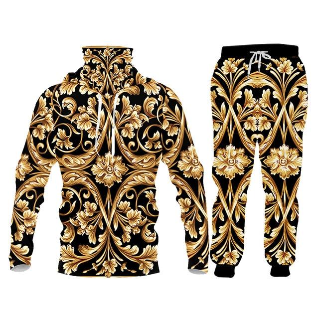 UJWI brand 3D Print Men two piece set Gold Flower Luxury Royal Baroque Tracksuit Jacket Sweatsuit Sweatshirt Hoodies sports 5XL 5