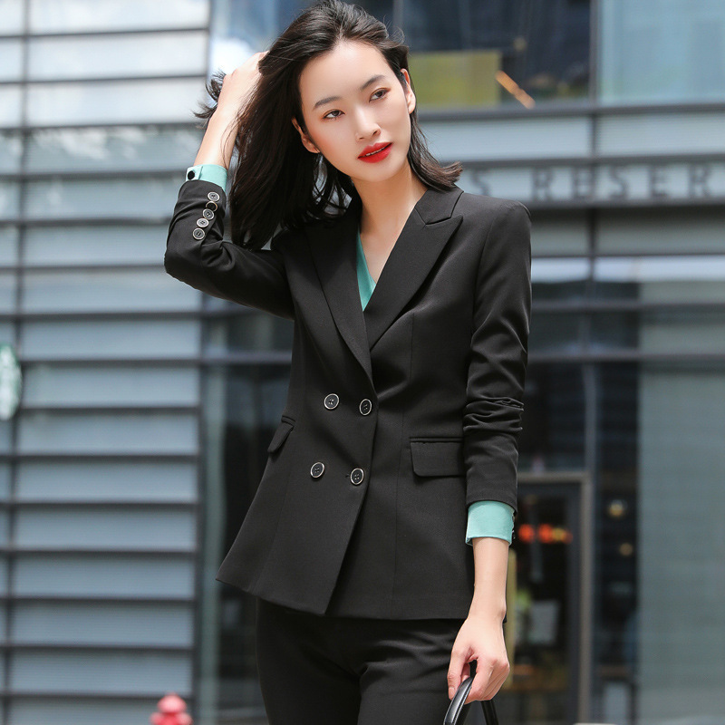 High Quality Women's Pants Suit Two-piece Female Business Wear Autumn and Winter Double-breasted Ladies Jacket Casual Trousers