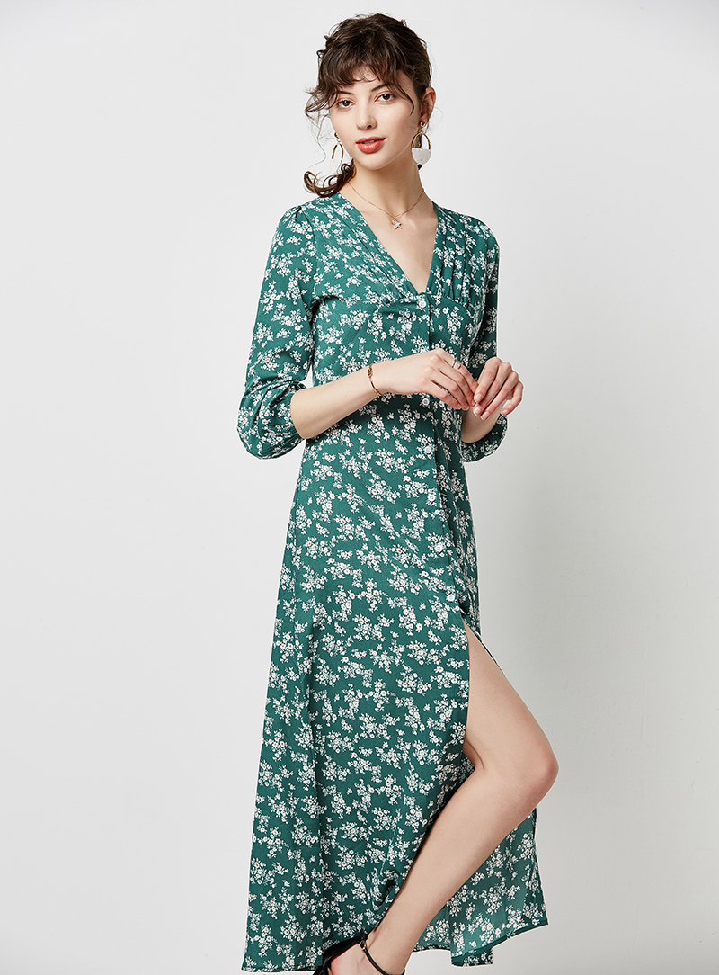 Autumn Elegant Floral Print Midi Dress Women 19 V Neck Button Casual Tunic Shirt Dress Lantern Sleeve Split Boho Long Dress 8